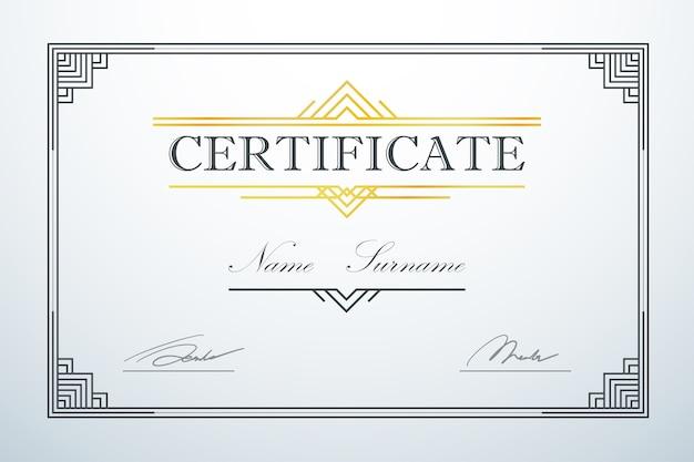 Modèle De Cadre De Carte De Certification Luxe Vintage Vecteur Premium