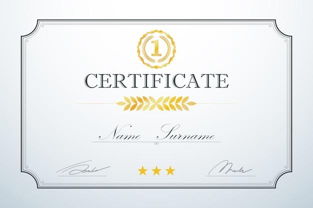 Modèle De Cadre De Carte De Certification Vintage Luxe Rétro Vecteur Premium