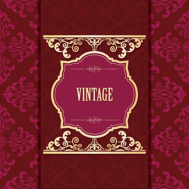 Modèle De Cadre Doré Vintage Sur Damassé. Vecteur Premium