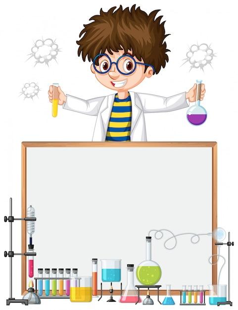 Modèle de cadre avec enfant dans un laboratoire scientifique Vecteur gratuit