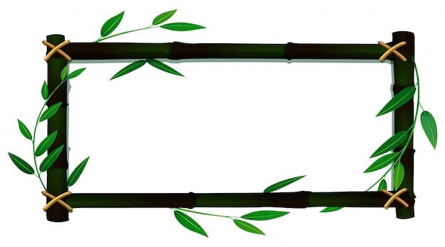 Modèle De Cadre Avec Des Feuilles De Bambou Vecteur gratuit