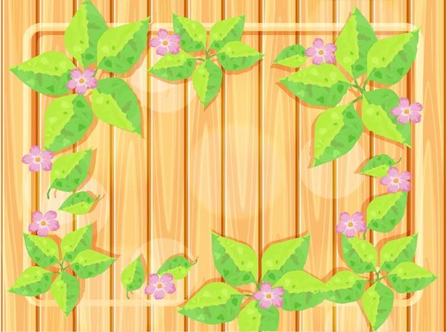 Modèle de cadre avec des fleurs roses Vecteur Premium