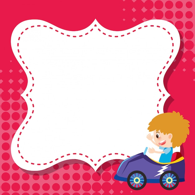 Modèle de cadre avec garçon en voiture de course Vecteur Premium