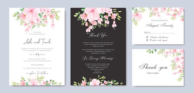 Modèle de cadre mariage floral fleur de cerisier Vecteur Premium