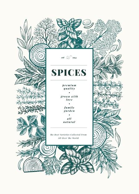 Modèle de cadre de menu d'herbes et d'épices culinaires Vecteur Premium