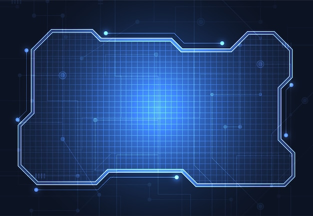 Modèle de cadre technologique abstrait Vecteur Premium