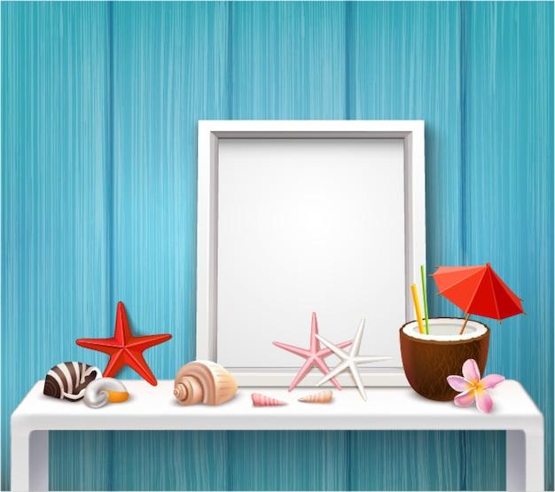 Modèle de cadre vierge réaliste avec photographies coquillages étoiles de mer cocktail dans un style nautique Vecteur gratuit