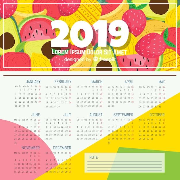 Modèle de calendrier 2019 dessiné à la main moderne Vecteur gratuit