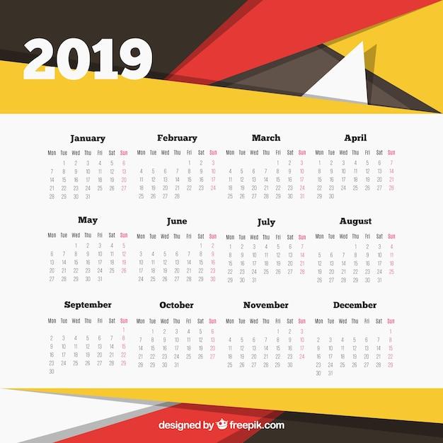 Modèle de calendrier 2019 moderne avec des formes abstraites Vecteur gratuit