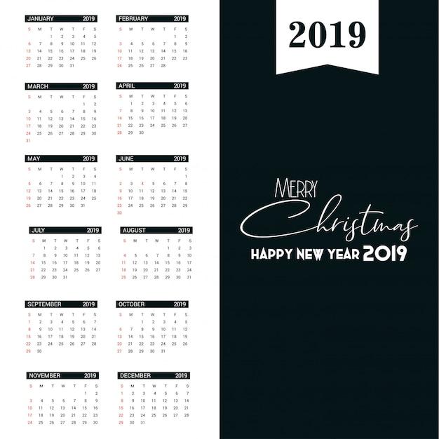 Modèle de calendrier 2019 Vecteur Premium