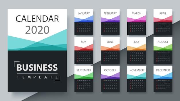 Modèle de calendrier 2020 année. modèle d'affaires Vecteur Premium