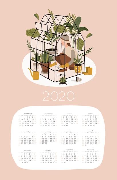 Calendrier 2020 Avec Photos.Modele De Calendrier 2020 Avec Le Jardinage Telecharger