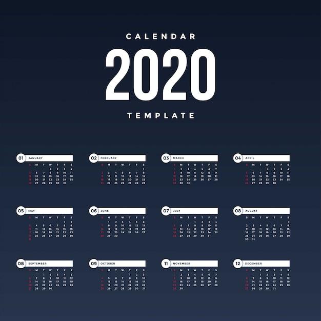 Modèle De Calendrier 2020 Moderne Vecteur Premium