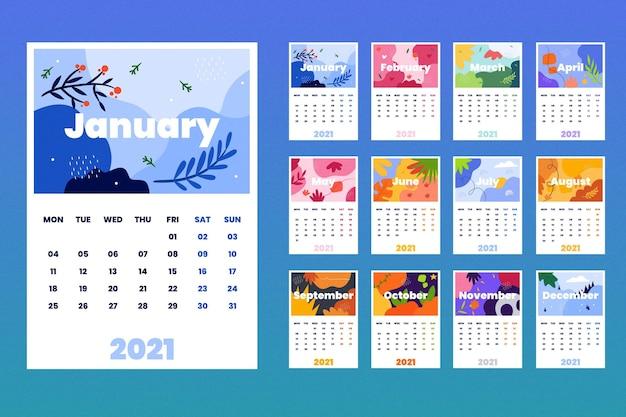 Modèle De Calendrier 2021 Illustré Vecteur gratuit
