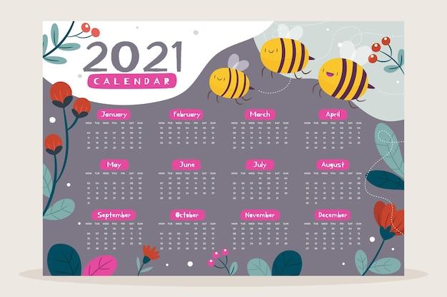 Modèle De Calendrier 2021 Illustré Vecteur Premium