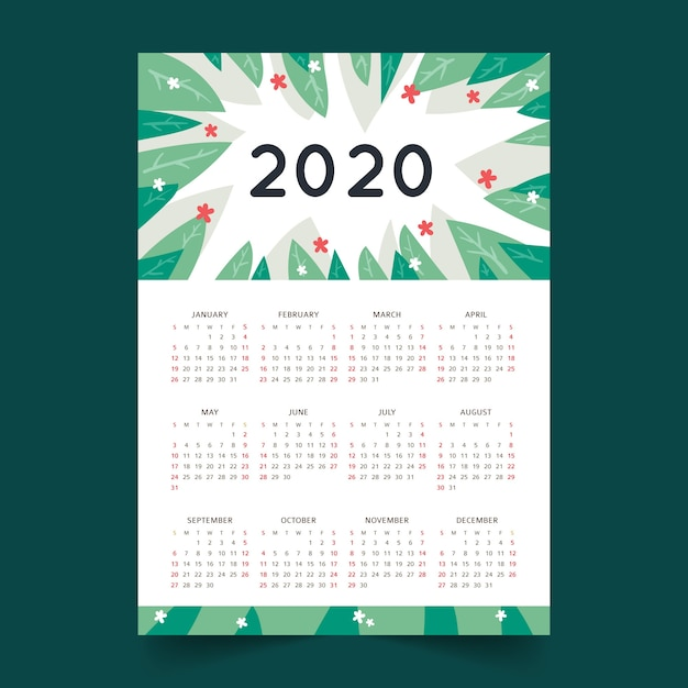 Modèle de calendrier abstrait 2020 Vecteur gratuit