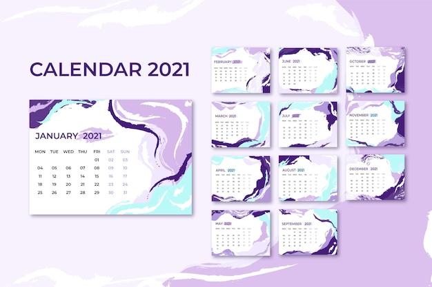Modèle De Calendrier Abstrait 2021 Vecteur Premium