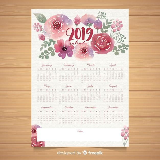 Modèle de calendrier aquarelle floral 2019 Vecteur gratuit