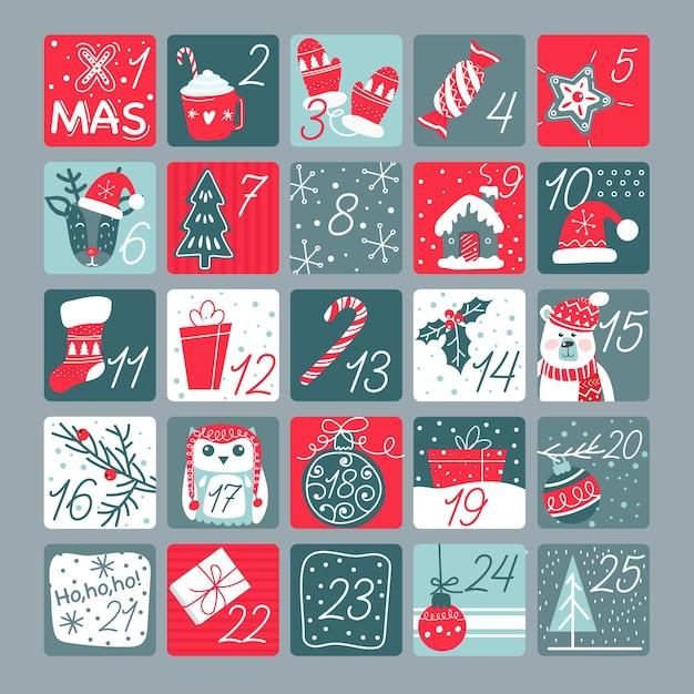 Modèle de calendrier de l'avent design plat avec illustrations Vecteur gratuit