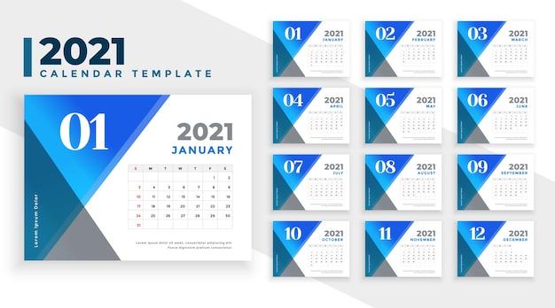 Modèle De Calendrier Bleu Abstrait Nouvel An Vecteur gratuit