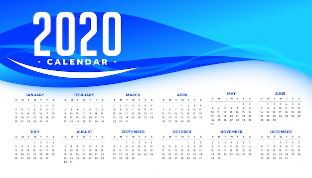 Modèle de calendrier de bonne année 2020 avec vague bleue abstraite Vecteur gratuit