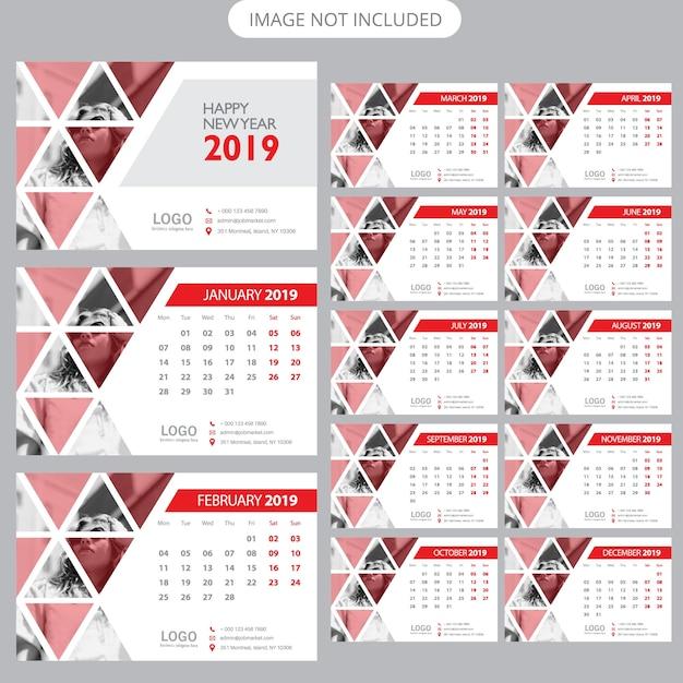 Modèle de calendrier de bureau 2019 Vecteur Premium