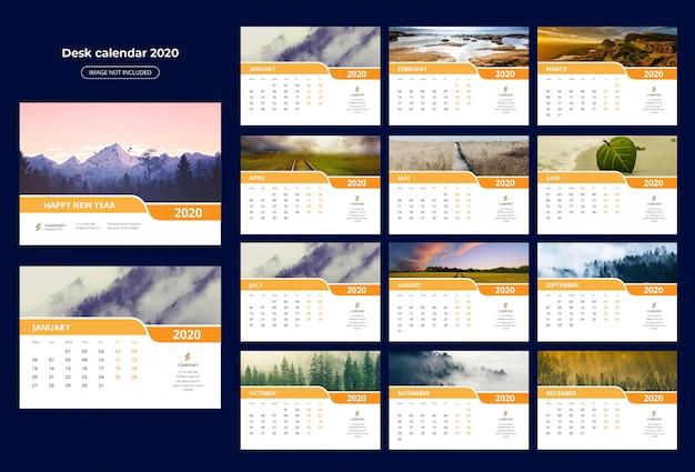 Modèle calendrier de bureau 2020 Vecteur Premium