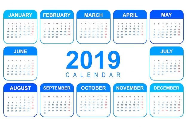 Modèle de calendrier coloré 2019 élégant de conception Vecteur gratuit