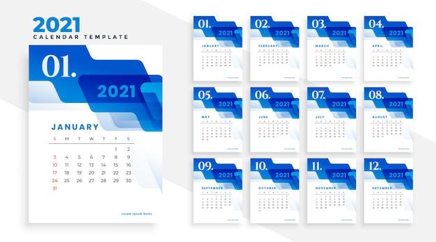 Modèle De Calendrier Commercial Bleu 2021 Avec Des Formes Abstraites Vecteur gratuit