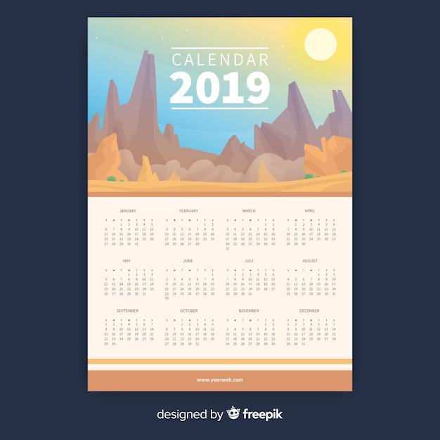 Modèle de calendrier créatif 2019 Vecteur gratuit