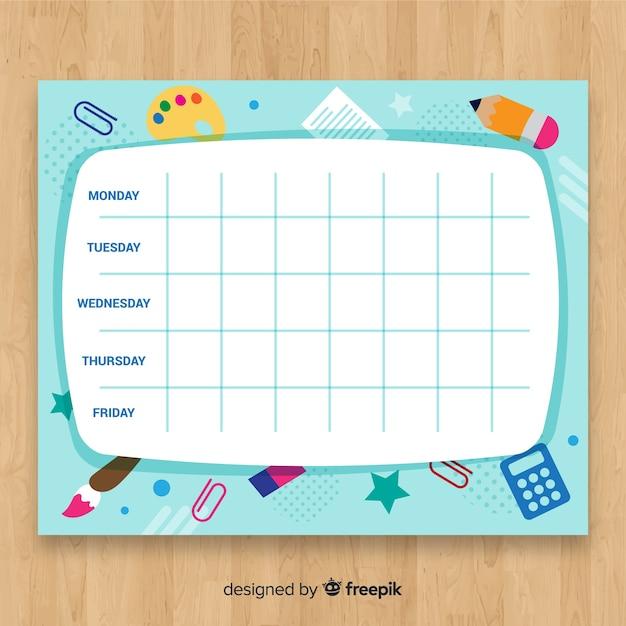 Modèle de calendrier créatif retour à l'école Vecteur gratuit