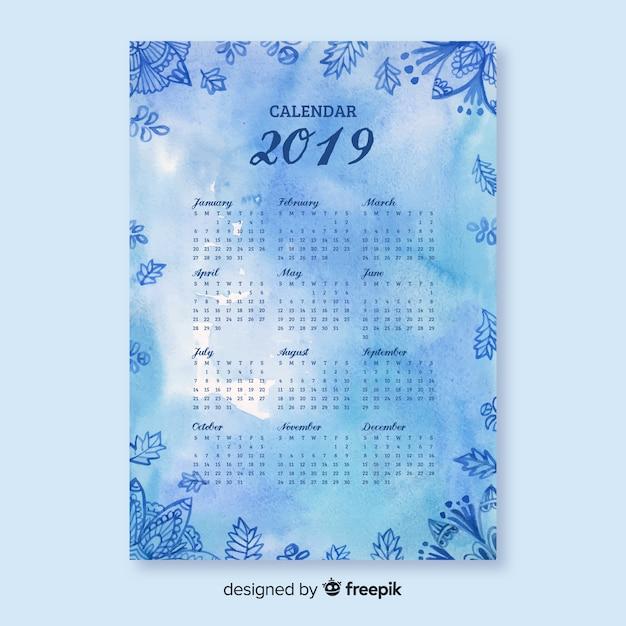 Modèle de calendrier fleurs aquarelle mandala Vecteur gratuit