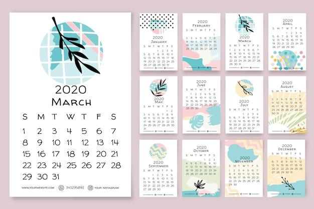 Modèle de calendrier floral dessiné main 2020 Vecteur gratuit