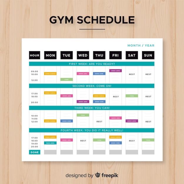 Modèle de calendrier de gym moderne avec un design plat Vecteur gratuit