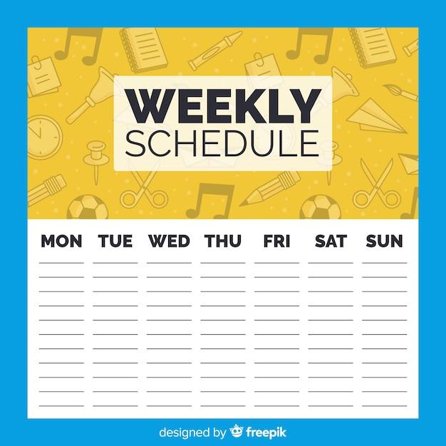 Modèle de calendrier hebdomadaire de l'école Vecteur gratuit