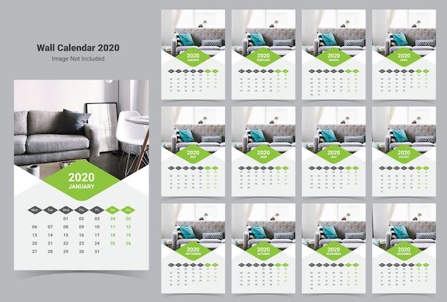 Modèle calendrier intérieur mur 2020 Vecteur Premium