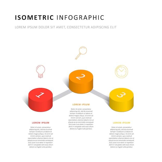 Modèle de calendrier isométrique infographie avec des éléments cylindriques 3d réalistes et des icônes marketing Vecteur Premium
