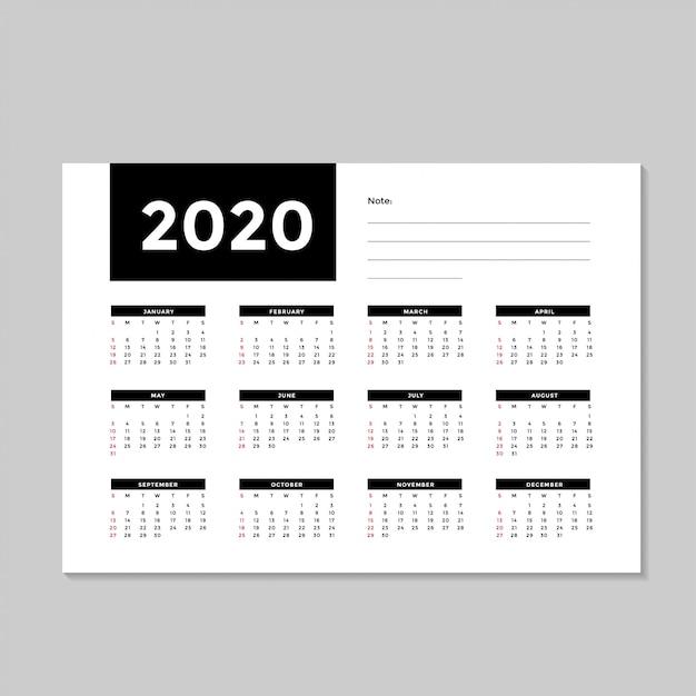 Modèle Calendrier Minimaliste 2020 Vecteur Premium