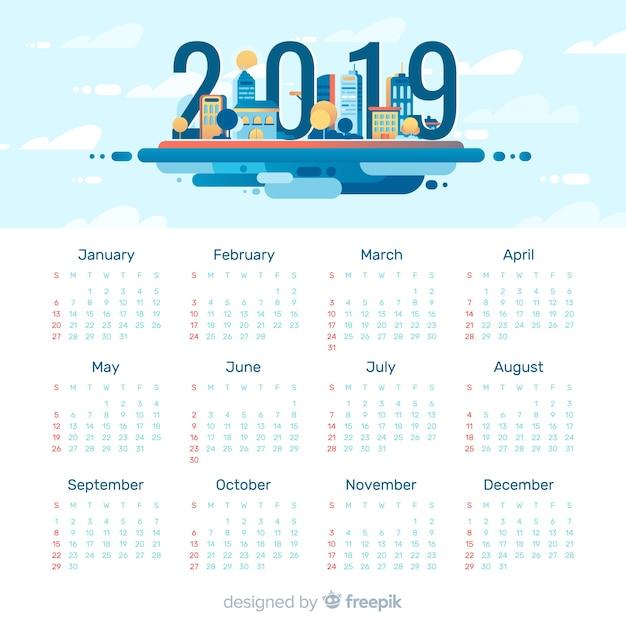 Modèle de calendrier moderne 2019 avec design plat Vecteur gratuit