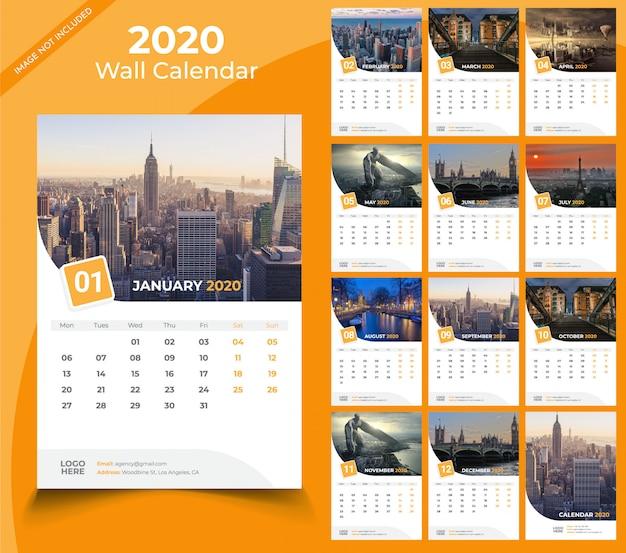 Modèle de calendrier mural 2020 Vecteur Premium