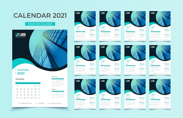 Modèle De Calendrier Mural 2021 Vecteur Premium