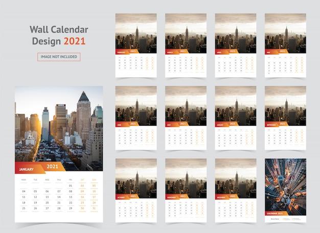 Modèle De Calendrier Mural 2021 | Vecteur Premium