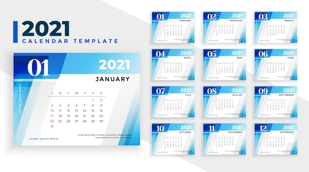 Modèle De Calendrier De Nouvel An 2021 Dans Le Style De Formes Géométriques Bleues Vecteur gratuit