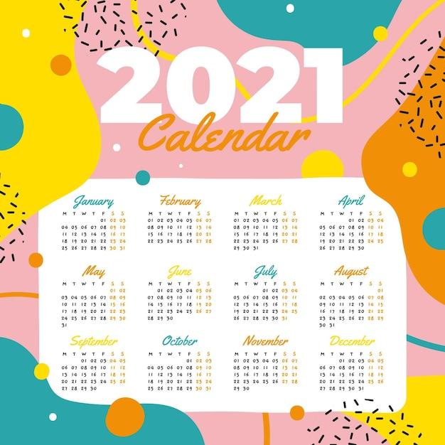 Modèle De Calendrier De Nouvel An 2021 Dessiné à La Main ...