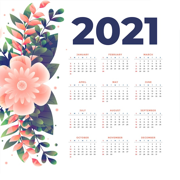 Modèle De Calendrier De Nouvel An Avec Décoration Florale Vecteur gratuit