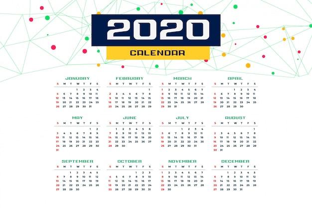 Modèle de calendrier pour le nouvel an 2020 Vecteur gratuit