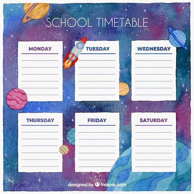 Modèle de calendrier scolaire avec aquarelle galaxy Vecteur gratuit