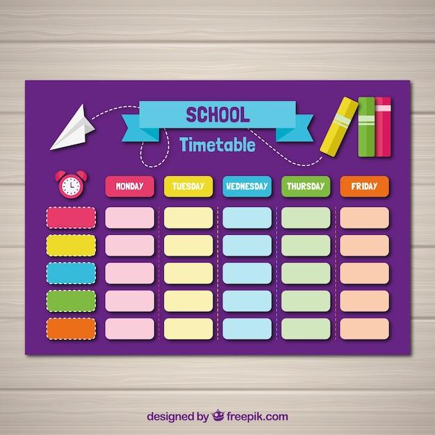 Modèle de calendrier scolaire avec un design plat Vecteur gratuit