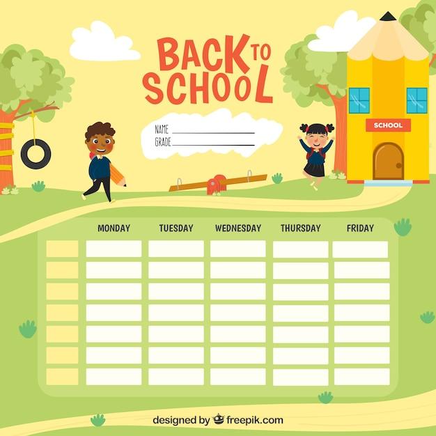 Modèle de calendrier scolaire à organiser Vecteur Premium