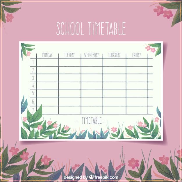 Modèle de calendrier scolaire rose floral Vecteur gratuit